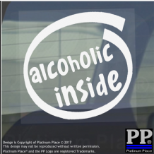 1 x Alcoholic Inside-Window,Car,Van,Sticker,Sign,Vehicle,Adhesive,Drink,Party